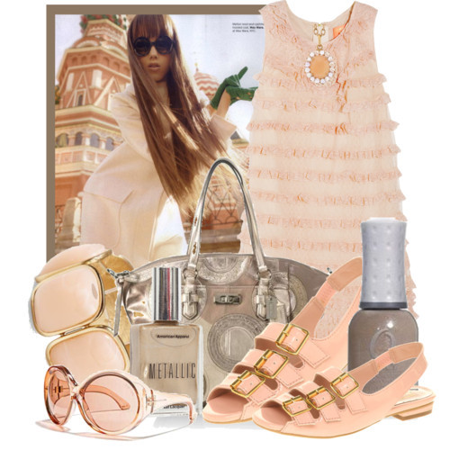 Peachy Peach and Brown by queenrachietemplateaddict featuring leather handbags