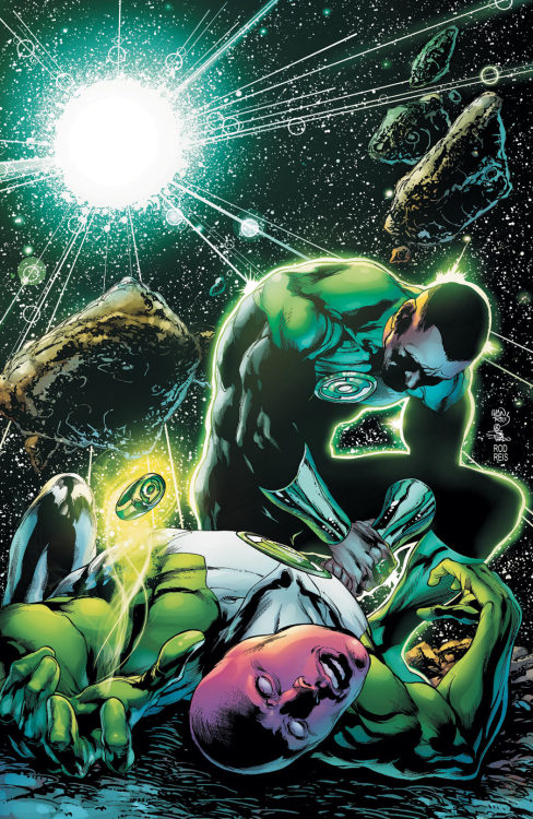 Green Lantern (John Stewart) and Green Lantern (unknown) lose to forces unknown on the cover to Green Lantern Corps #7 from DC.