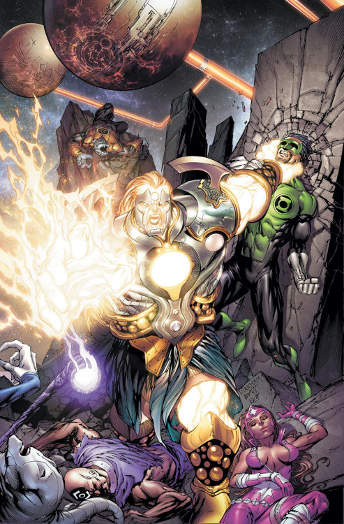 The New Guardians lose to Invictus on the cover to Green Lantern: New Guardians #7 from DC.