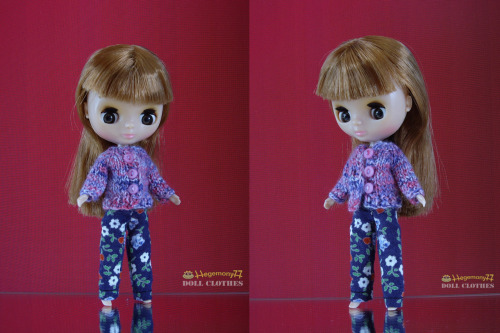 Petite Blythe doll in floral pants and hand knitted cardigan with usable tiny buttons