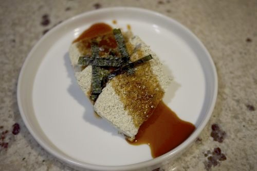 Oh deliciousness! It's our pal Vi Zahajszky's hemp seed tofu! It looks amazing! Go get her recipe (with detailed, illustrated instructions) at Bay Area Bites. And then make it for us, we're hungry and totally curious.