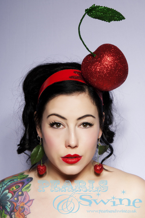 www.pearlsandswine.co.uk Huge Glitter Cherry Headband Fasciantor by Pearls & Swine Photo by Diana Thompson of Fashion Loves Photos