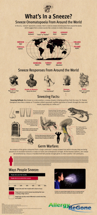 mothernaturenetwork:  What's in a sneeze? An infographic of odd factsThe name of a sneeze is recognizable in many languages, and the polite response seems to convey a similar message. Check out these other oddball facts about sneezing.