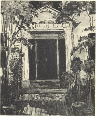 Front Door of the Jewett House at South Berwick. From a painting by Russell Cheney.