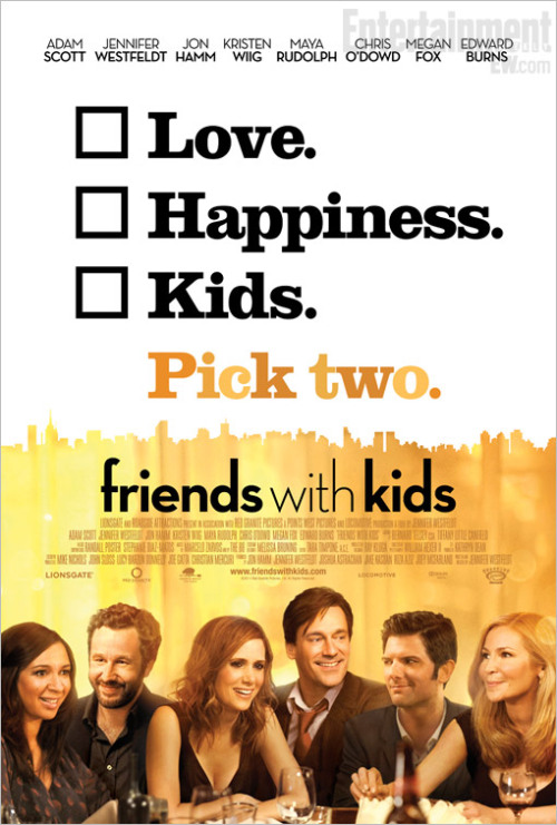 Anyone who has seen the trailer for Friends With Kids knows that the March 9 comedy could easily be a bizarro-world spiritual sequel to Bridesmaids, what with a cast that includes Kristen Wiig, Jon Hamm, Maya Rudolph, and Chris O'Dowd. But the film boasts even more lovable cast members: Friends With Kids focuses on two friends, played by Adam Scott and Jennifer Westfeldt, who decide to have a child together, platonically.