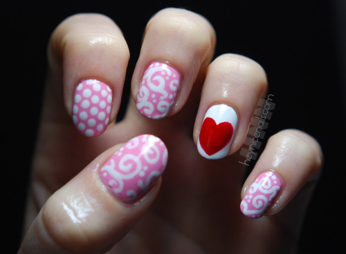 heynicenails:  V.day mix over Pink Friday from OPI