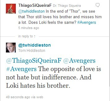 """The opposite of love is not hate but indifference. And Loki hates his brother."" by Tom Hiddleston All I see is love, love, love …"