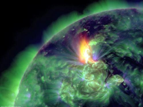 cbsnews:  A solar flare caused a portion of the plasma in the Sun's atmosphere to break off and fly out into space at a speed of about 5 million miles an hour. Seen here is the coronal mass ejection (CME) ejection of the plasma cloud breaking off from the sun.