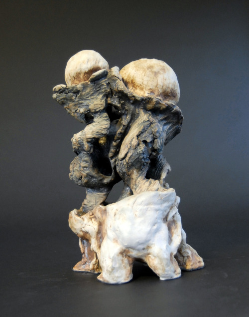 "David Gilbaugh: Family Tree, 2007, sculpture, 6.5""(W) x 11.5""(H), hand-built coil, B-mix stoneware with grog, cone 10 reduction, iron, rutile, chrome and cobalt oxide stains"