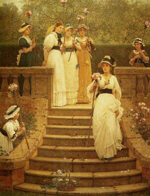 labellefilleart:  The Rose Queen, George Leslie Dunlop