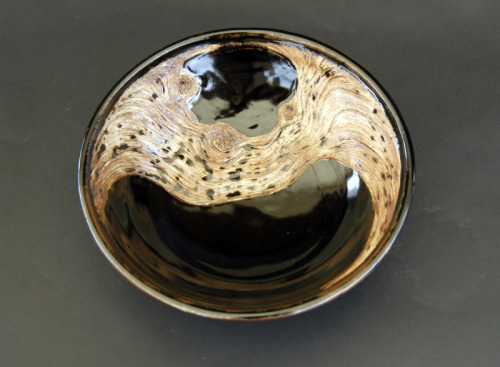 David Gilbaugh: Temmoku Grained Bowl, 2011, carved bowl, hand-built slab, B-mix stoneware paper clay with grog, cone 10 reduction, black stain brushed in crevices, water washed iron and rutile stain over porcelain decorating slip