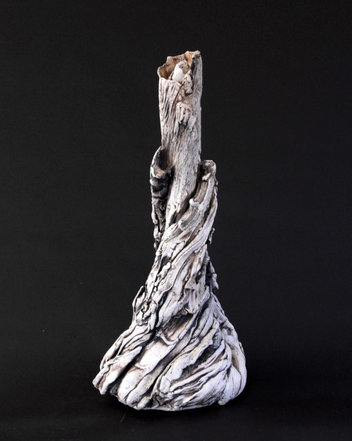 "David Gilbaugh: Siren Lamp Base, 2008, sculpted lamp base, 10""(W) x 22""(H), hand-built slab and coil, B-mix stoneware, cone 10 reduction, black stain"