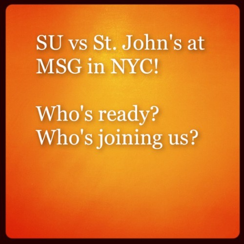 This Saturday at noon in #NYC at #MSG! #SU vs #StJohns! We'll be there! (Taken with Instagram at Madison Square Garden)