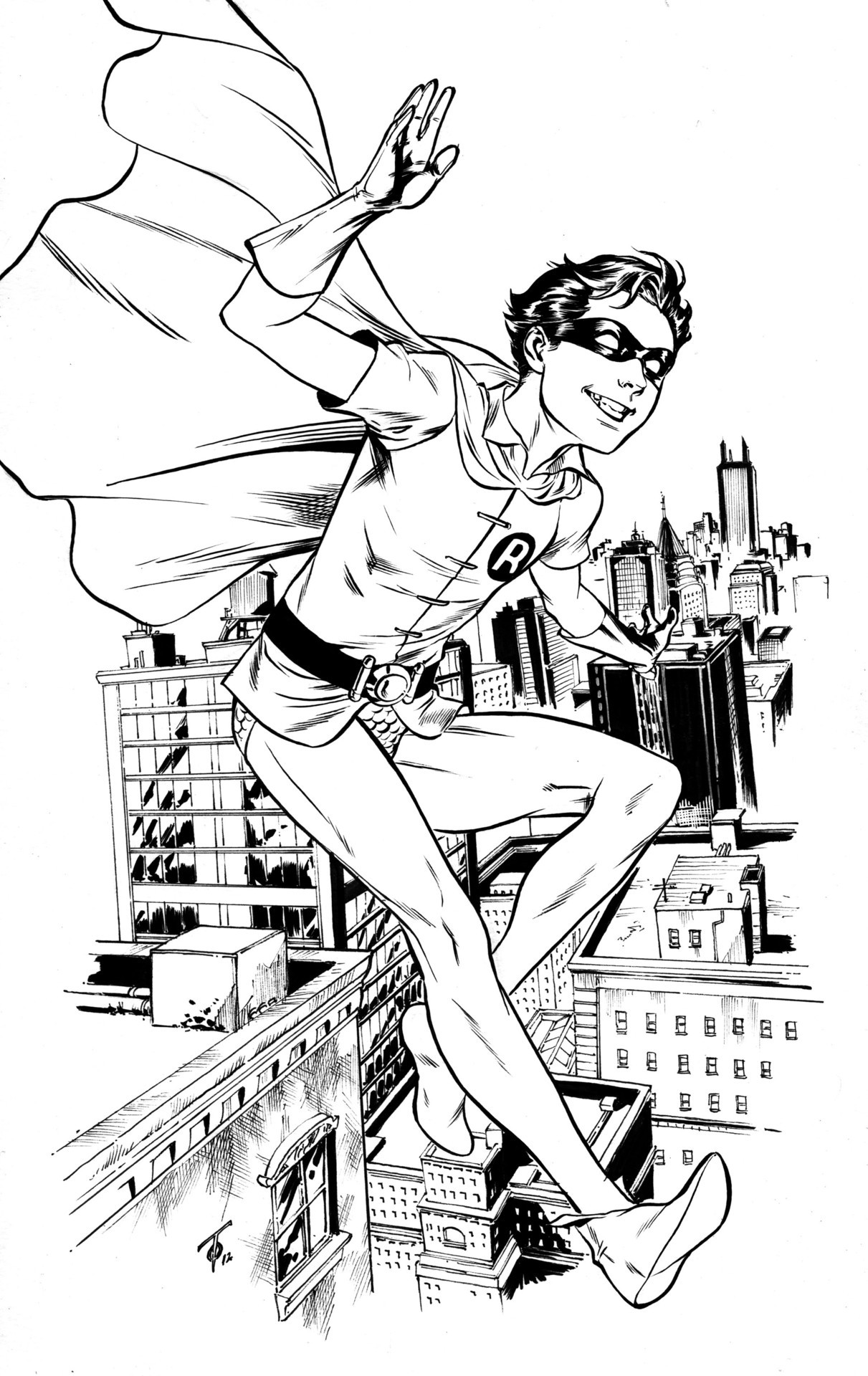 marcusto:  Interesting getting 2 Dick Grayson pieces in 1 week no? This one though is young Dick as Robin drawn for the lovely lady that made me the Booster Gold plushy at this past year's Toronto FanExpo. Sorry again this took so long Kathy!  ahh those wonderful legs!