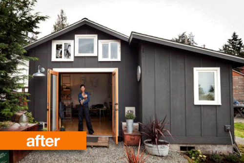 dtowers:  the-absolute-best-posts:  myidealhome: before/after: from garage to mini-house!   so cool