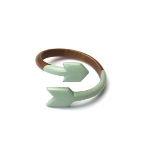 Wishlist! How cute is this simple copper dipped ring in seafoam? Very cute for V-Day, if, you know, you're into arrows and such! - PopThreads(via ARROW RING Copper and dipped rubber SEAFOAM by MijuAndYou)