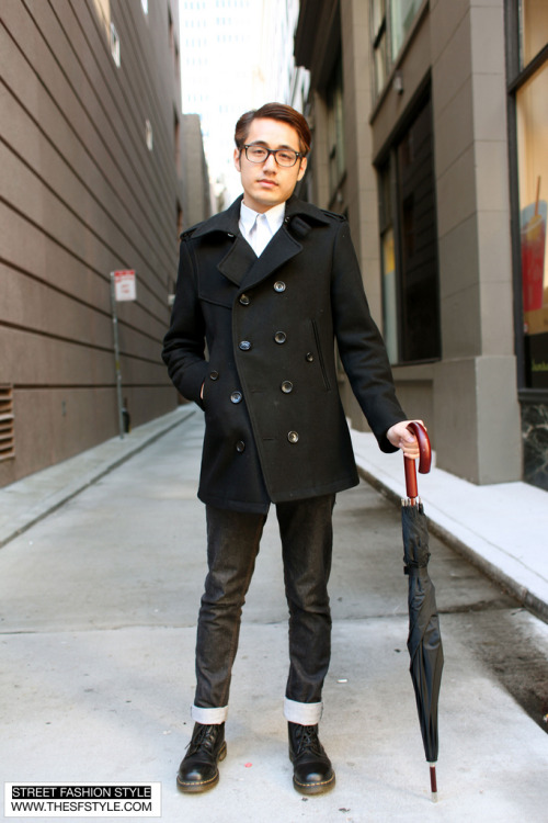 We loooove this outfit captured by sfstyle - look how he paired a simple black pea coat with nice, stiff, and raw cut denim!  (hint, hint: looking for pieces that match this? We've got super stiff denim as well as your perfect black pea coat by Gramercy to pull off a similar look)