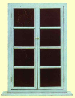 bluebirdsfloat:  Marcel Duchamp - Fresh Window 1920. Miniature window: wood painted blue and eight rectangles of polished leather. 77.5 x 45 cm on a wooden board, 1.9 x 63.3 x 10.2 cm. The Museum of Modern Arts, New York, NY, USA.