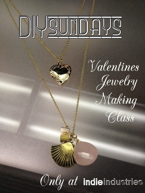 Indie Industries DIYsundays is here! Make a super-sweet valentine's necklace before your big day! Featuring Jenn Kubat from RETROgypsy* Jewelry (http://retrogypsy.com/)Sunday, Feb. 12thTwo Classes: 2-3pm, or 3-4pm Class Fee: $7Project: Basic Necklace Making ClassMake a special piece of hand-made jewelry for Valentine's Day![ Buy tickets for the event here: http://diysundays.eventbrite.com/ ]Join us on Sunday, for a one hour basic jewelry making class. By the end of the class, you will have made a unique necklace, with all basic materials included in the class fee. ::Includes::Instruction and personal assistance by instructor and resident jewelry designer, Jenn Kubat. Plus a basic supplies kit, with enough materials to make one piece of jewelry featured in the class. ::Optional::Additional materials, pendants and jewelry pieces may be purchased to enhance your piece or to make additional pieces with, at an additional charge during the class.::Personalize::Bring in your own materials to add to the project, making it your own. Ideas include buttons, found materials, all to be made into a new, one of a kind piece. ::Fun + Cheap!::Our DIY classes are meant to be a fun, creative way to spend an hour every Sunday. Class fees are always super cheap, which is actually much less than the cost of the materials we provide you. It's basically a fun way to interact with our community and spread our indie spirt along… so come join us!