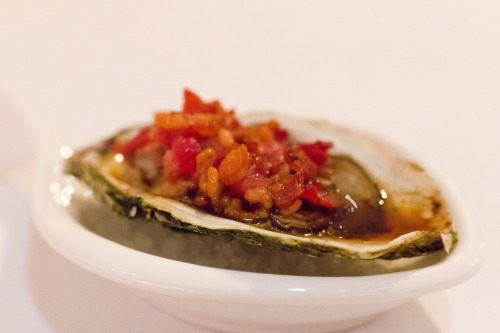 f-word:  oysters kilpatrick: oysters topped with chopped cooked bacon, a bit of butter and worcestershire sauce then baked photo by sifu renka