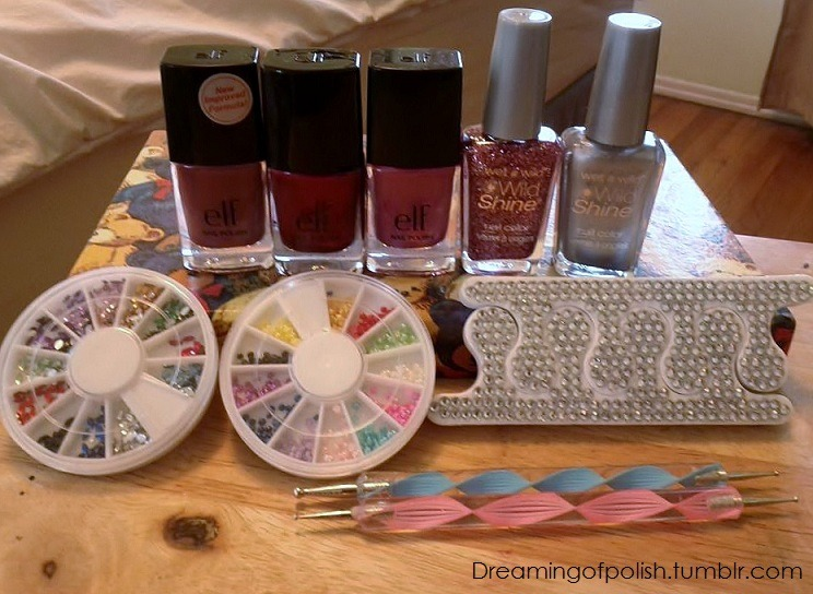 dreamingofpolish:  Dreaming Of Polishes' First Giveaway!! To celebrate reaching 200 followers I have decided to have a giveaway!! In this giveaway you will receive: Elf-Berry Pink Elf-Mod Mauve Elf-Red Velvet Wet n wild-Metallica Wet n wild-Sparked Blinged out toe separator 2 dotting tools 2 Nail Art rhinestone wheels Rules: 1.This giveaway will start February 1 ,2012 at 12:00AM PST and will end one month later on March 1,2012 at 12:00AM PST. I will announce the winner on March 2, 2012. 2.You must have your ask box open so I can contact you. If I am not able to contact you within 24 hours I will choose another winner. 3. This giveaway must get at least 100 votes. 4. This giveaway is only in the U.S! To enter: 1. Must be following me. Dreamingofpolish.tumblr.com 2. Must reblog. (No mulitple reblogs) Feel free to message me if you have questions! Good Luck and Thank you for participating! (: