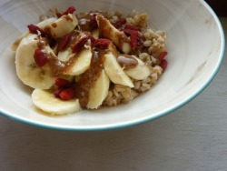 Breakfast- Creamy Coconut Oat Groats with Banana and Almond Paste