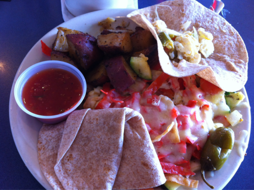 Lunch with a friend. Veggie migas and coffee. Brunchy!