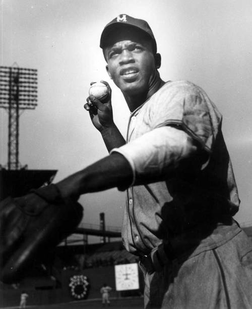 Jackie Robinson at Comiskey Park c. 1947. Photograph by Stephen Deutch.  Want a copy of this photo?> Visit our Rights and Reproductions Department and give them this number: iChi-35689. Connect with the Museum