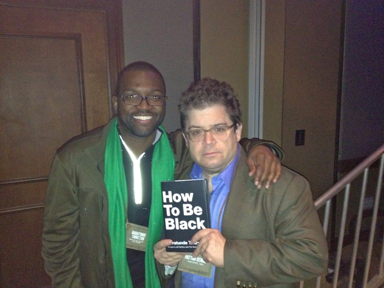 Baratunde and Patton Oswalt (who blurbed the book brilliantly)!