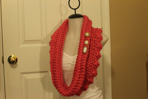 Pink Pretty Petal! This scarf was designed and crocheted by me with lots of love. The button(s) and chain(s) are from a stash of buttons my grandmother owned.