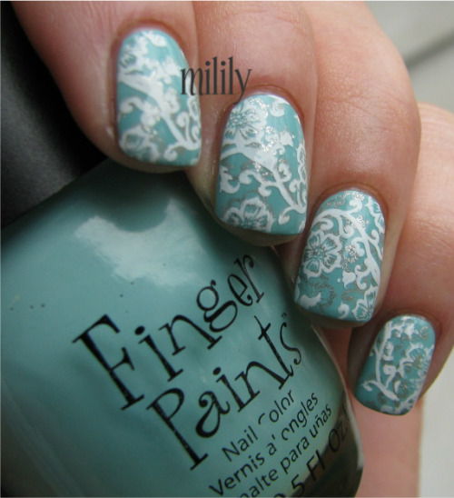 Finger Paints Tiffany Imposter stamped with Color Club Antiquated and Konad White.  Plate: RA-109