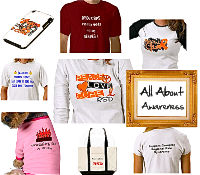 All About Awareness… It may not be high fashion… but for sufferers of Complex Regional Pain Syndrome or Reflex Sympathetic Dystrophy (CRPS/RSD), it's high time that cuter clothing options displaying awareness for the disease come about (I mean, it's kind of the least the universe could offer us, right?!?). Anyway, I recently stumbled upon the rsd+gifts section of customization website Zazzle.com, and it's an absolute awareness-lovers dream come true. You should go buy something… now! Typically, product prices run between $5.00 - $50.00; and as you can see range from simple keychains to iPad cases and skateboards, with doggie/human tees in between.  If there are any other sites similar to this one, let me know!  Again, it's: http://www.zazzle.com/rsd+gifts  Hope you're all having a pain free day. Be well. xx (Images via: Zazzle) (Collage at Polyvore)