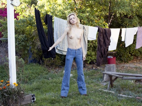 A heart broken Dora Yoder in her backyard in Hollywood last week.  Photo by Brad Elterman
