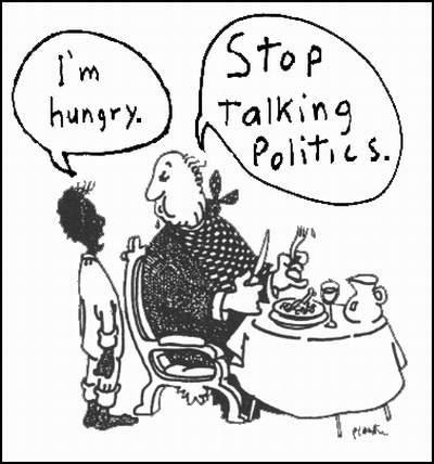 "occupyonline:  ""I'm hungry."" ""Stop talking politics."""