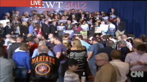 A shot from Gingrich HQ right now, where Newt loyalists are awaiting their fearless leader. You can watch the live stream here, courtesy of CNN.