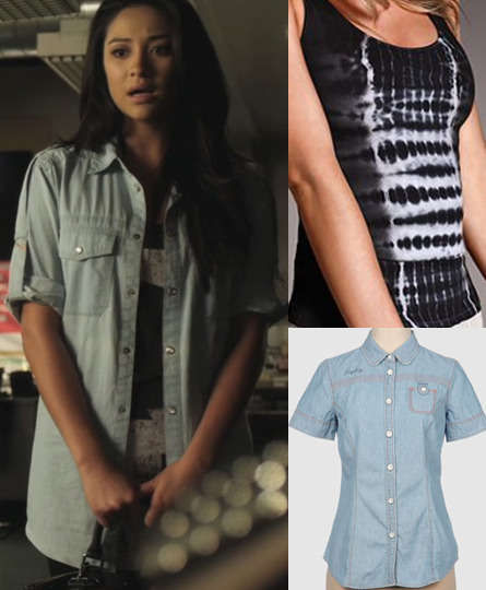 To achieve Emily's tomboy chic look, open a denim button up shirt over a black tank with a print. Easy! Under $20 Shirt:  Replay Denim Shirt - $20.00  Under $50 Tank:  Victoria's Secret Tie Dye Tank - $24.00