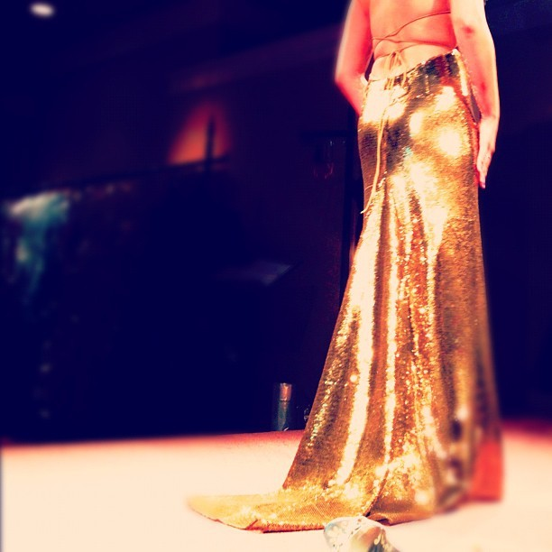 #gold #shine #sequin #dress #train #slim #back #booty #prom #grad #fancy #formal (Taken with instagram)