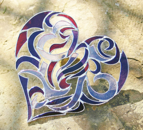 Stained Glass Heart Intricate Tribal Motif