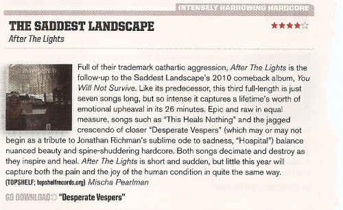 The Saddest Landscape's After the Lights got 4/5 in this month's issue of AP.