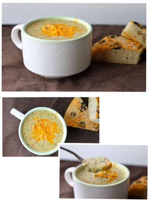 BROCCOLI CHEESE SOUP: PANERA BREAD RECIPE.   SLIGHTLY MODIFIED FROM FOOD NETWORK  6 tablespoons butter 2 cloves garlic 1 small onion, chopped  1/4 cup all-purpose flour  2 cups half-and-half  3 cups chicken broth  2 bay leaves  1/4 teaspoon nutmeg  Kosher salt and freshly ground pepper  4 cups broccoli florets (about 1 head)  1 large carrot, diced  2 1/2 cups (about 8 ounces) grated sharp cheddar cheese  Melt the butter in a large Dutch oven or pot over medium heat. Add the onion and garlic and cook until tender, about 5 minutes. Whisk in the flour and cook until golden, 3 to 4 minutes, then gradually whisk in the half-and-half until smooth. Add the chicken broth, bay leaves and nutmeg, then season with salt and pepper and bring to a simmer. Reduce the heat to medium-low and cook, uncovered, until thickened, about 20 minutes. Add the broccoli and carrot to the broth mixture and simmer until tender, about 20 minutes. Discard the bay leaves. Puree the soup in batches in a blender until smooth; you'll still have flecks of carrot and broccoli. Return to the pot. (Or puree the soup in the pot with an immersion blender. If you are lucky enough to own one. Which I am not.)  Add the cheese to the soup and whisk over medium heat until melted. Add up to 3/4 cup water if the soup is too thick.