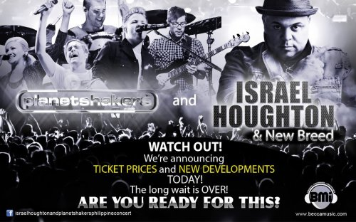 Have you heard about this yet? Israel Houghton & New Breed and Planetshakers are finally coming to the Philippines this April 2012! Tickets are going to be announced today so LIKE the concert page on Facebook for updates: http://www.facebook.com/israelhoughtonandplanetshakersphilippineconcert