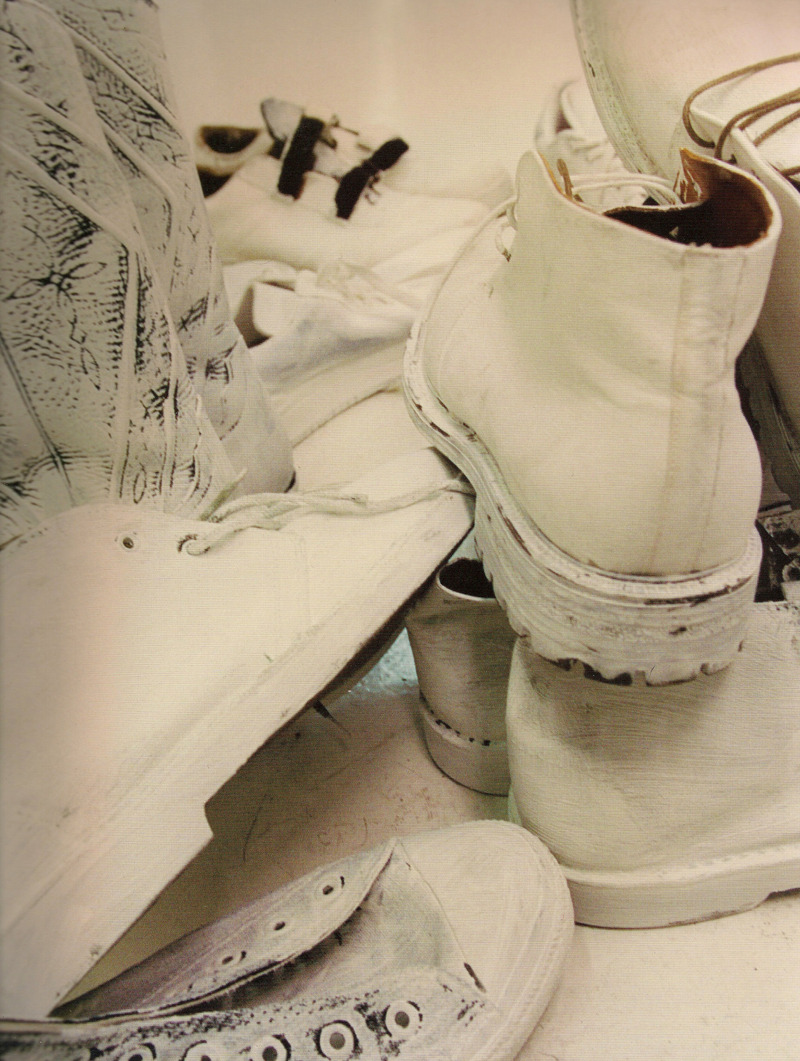 S/S 1999. First men's collection. Vintage shoes painted white. Photography: Marina Faust