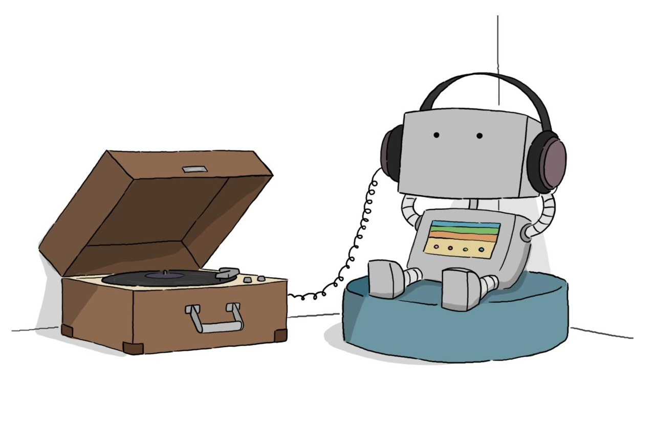 Just a little hipster robot.  He's relaxing.  © Liz Climo