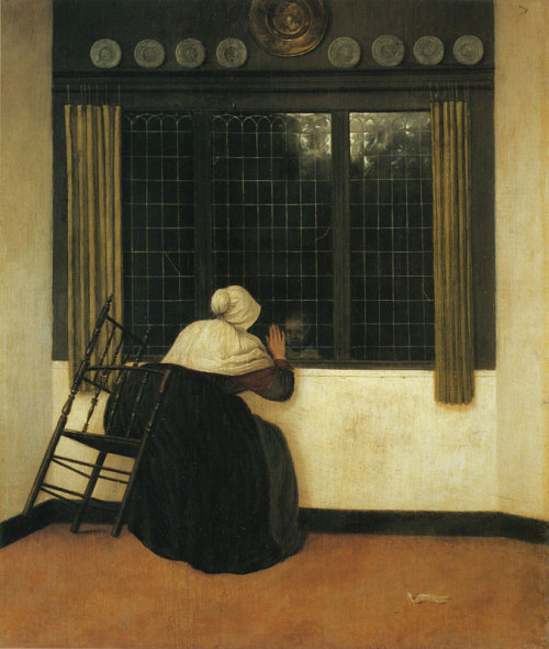 missfolly:  Woman at a window, Waving at a Girl, ca. 1650, by Jacobus Vrel