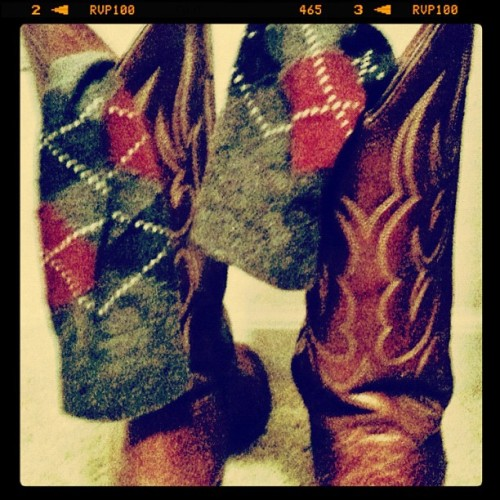 My boyfriend wears cowboy boots with argyle socks and thinks he's amazing (Taken with instagram)