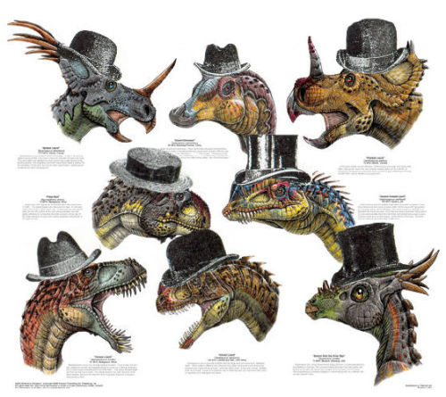 "dapperdinos:   A selection of dinosaurs showing off their dapper headgear.  a multitude of extraordinarily dapper dinosaurs! Too many to count! Well done!  ""A blog dedicated to dinosaurs dressing in finery."" I'm so there it's insane."