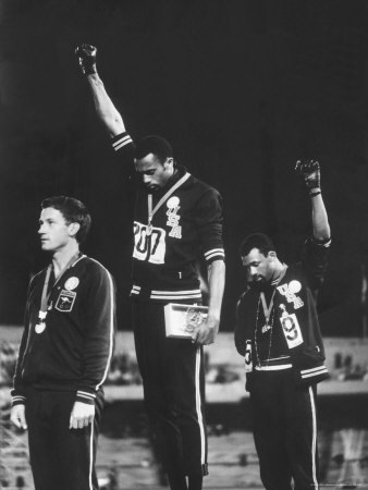 "octopibeefly:  About the Artwork: "" ""Black Power Salute"" commemorates the moment during the 1968 Olympics, in which African-Americans Tommie Smith and John Carlos exultantly gestured skyward, effectively leveling the playing field for civil rights. During the Mexico City games, Smith won the 200-meter race, setting a world record, and Carlos placed third. On the podium, they made a statement for equality by wearing symbolic attire and raising black-gloved fists during ""The Star-Spangled Banner."" The backlash was immediate and vicious—Smith and Carlos were expelled from the U.S. Olympic team, and even received death threats. This powerful image endured, becoming symbolic of African-American athletes' quest for equality"" (x)"