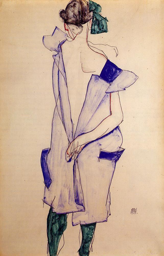 acciowhimsical:  Standing girl with blue dress and green stockings: Egon Schiele, Vienna, 1913
