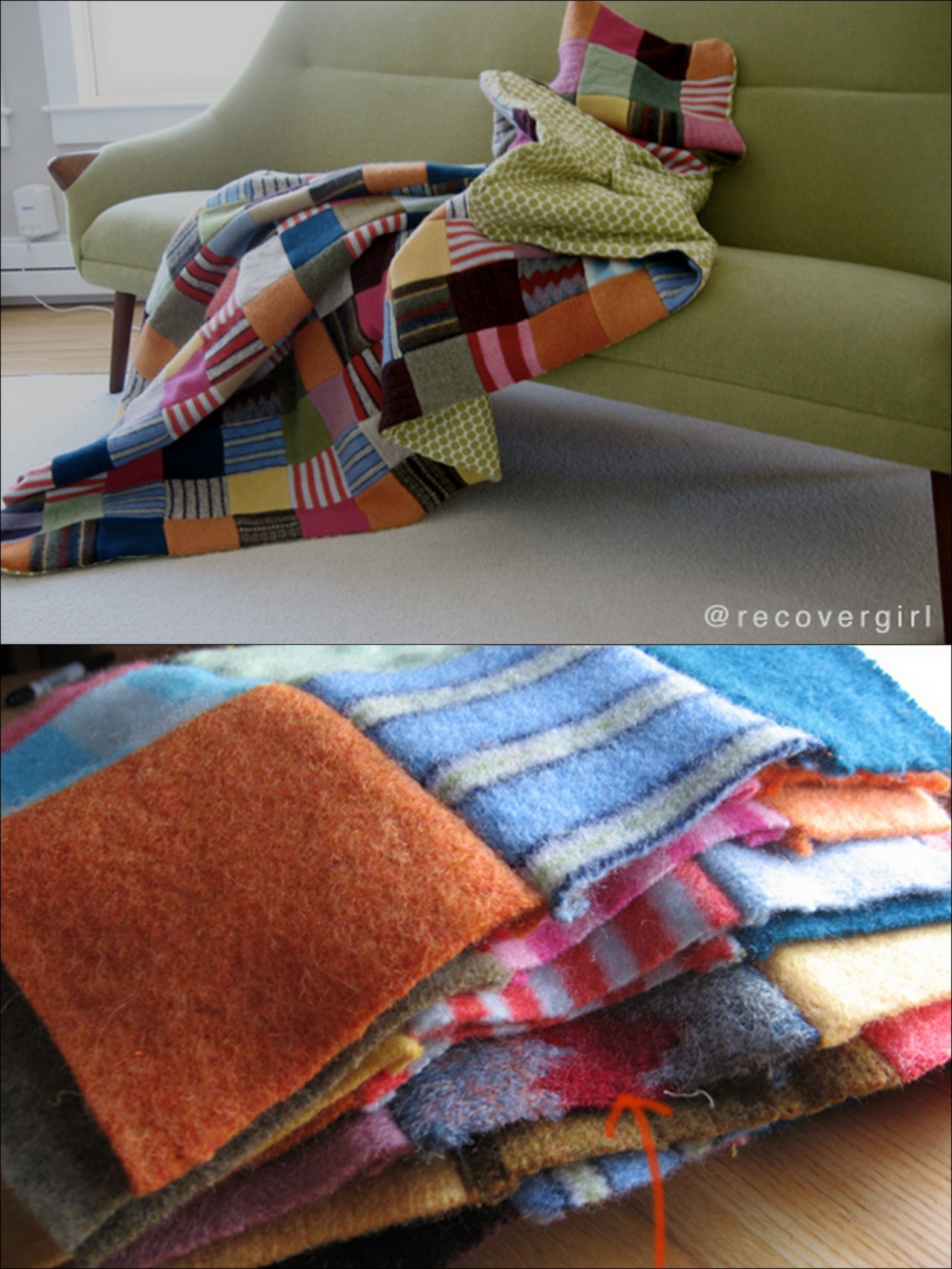 truebluemeandyou:  DIY Felted Sweater Blanket. Easiest instructions I've read so far - still a ton of work, but worth it (I've done 2 quilts using small squares of flannel that have this same type of look and are gorgeous). From recovergirl here. *When I was going to do felting I looked up tutorials on felting in the washing machine. I found several that suggested different ways of doing it (putting the bags in mesh bags etc…) to keep from totally gunking up your machine.