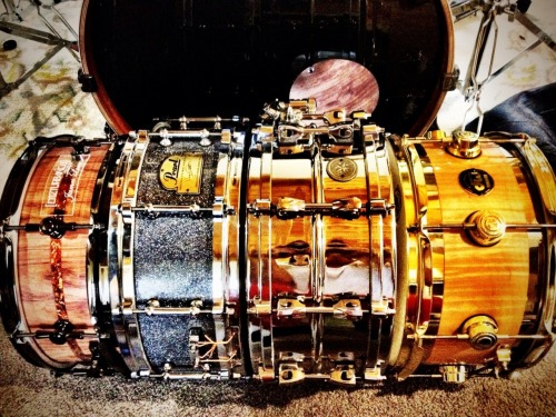 chripsy-strips:  Epic snares. From left to right - Disturbance Drums Bubinga stave 13x5, Pearl Virgil Donati Signature Snare, Tama Starphonic Brass 14x6, Dw Collectors Edge 13x7. Good times!